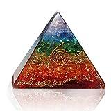 Crystal Vibe Energy Generator Orgone Pyramid for EMF Protection Healing Meditation Reiki Seven Chakra Balancing Natural Orgonite Stone Rainbow Size 75-80 mm