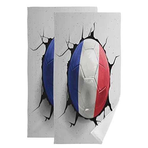 ALARGE Handtücher Fußball Frankreich Flagge Crash extra saugfähig weich Gästehandtuch Waschlappen 2er Set dünnes Badhandtuch für Yoga Sport Bad Küche Heimdekoration