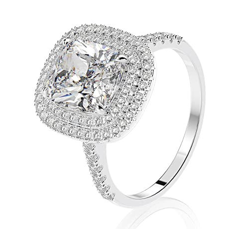 Metmejiao Fashion Rings Cushion Cut 4ct Zircon Diamonds Stone 925 Sterling Silver Engagement Wedding Band Ring for Women (7)