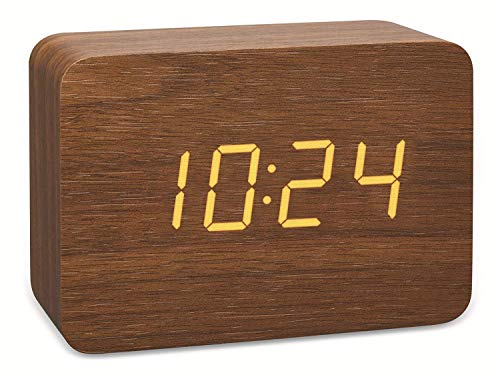 TFA Dostmann 60.2549 Design Funk-Wecker in Holz-Optik Clocco (braun/orange mit Batterien)