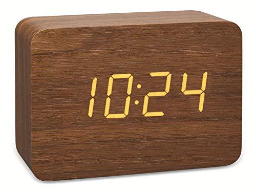 TFA Dostmann 60.2549 Design draadloze wekker in hout-look Clocco Bruin/oranje met batterijen