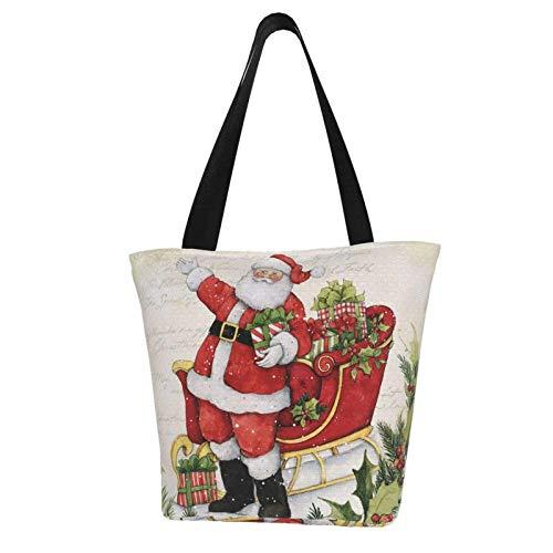 Vintage Weihnachten Weihnachtsmann Schlitten Auto Geschenke themenbezogene Frauen Canvas Handtasche Reißverschluss Schultertasche Arbeit Büchertasche Tote Geldbörse Freizeit Hobo Tasche zum Einkaufen