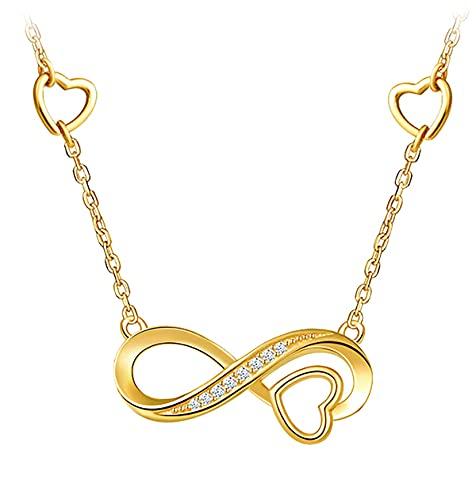 Victoria Kraft – Cadena con símbolo de infinito – Collar de plata 925 con circonitas – Juego de joyas para mujer con piedras y caja de regalo, regalo de cumpleaños