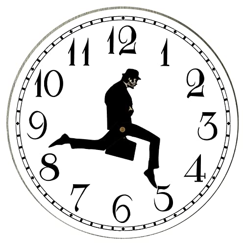 DOFCOC Reloj De Pared Silly Walk Inspirado En Monty Python - Arte Creativo del Reloj De Pared, Reloj Silencioso De Segundos De Barrido Preciso Sin Tictac para Dormitorio