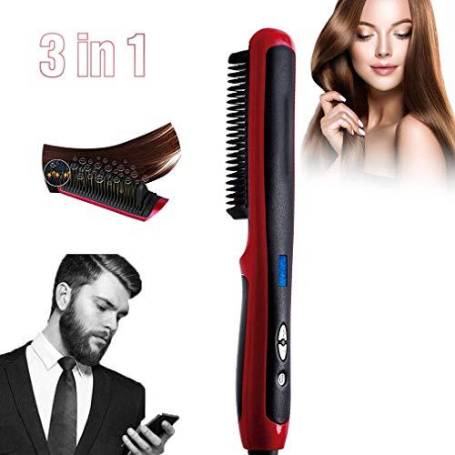 Cepillo Alisador de Barba para Hombres, Plancha Barba Hombre Sin Cable, Temperatura Ajustable, Pantalla LCD Digital, Doble Tensión y Portátil para Viajes