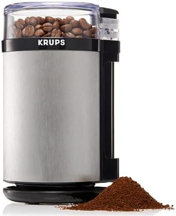 Molinillo eléctrico de café y de especias KRUPS GX4100 con hojas y funda de acero inoxidable, de 3 onzas, color gris