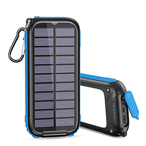 Caricatore Solare 26800mAh, Caricabatterie Solare Con 3 Salidas Powerbank Solare con 32 LEDs Luci per Smartphones Tablets, ECC