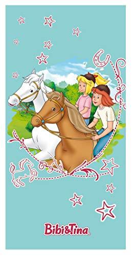 Bibi und Tina Strandtuch mit Pferde Sterne Mädchen | Badetuch Schwimmbadtuch 75x150 cm 100% Baumwolle Velours Türkis