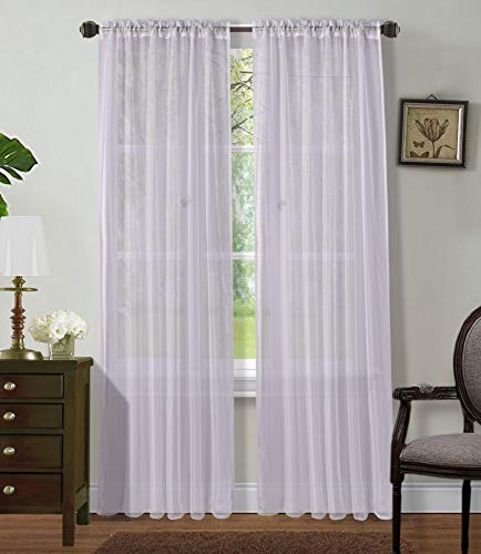 """2 Panels Window Sheer Curtains 54"""" x 84"""" Inches (108"""" Total Width), Voile Panels for Bedroom Living Room, Rod Pocket, Decorative Curtains, Solid Sheer Curtains White"""
