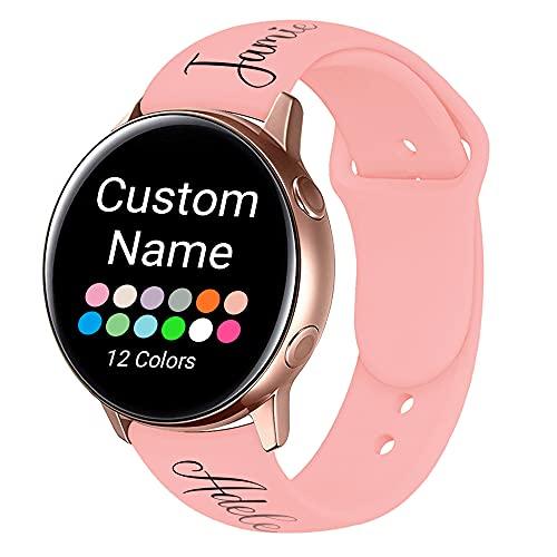 AIPNIS Nombre Personalizado Correa Compatible con Samsung Galaxy Watch Active/Active2 40mm 44mm, Correa de Repuesto de Silicona Suave para Samsung Galaxy Watch 42mm/Watch 3 41mm/Gear Sport