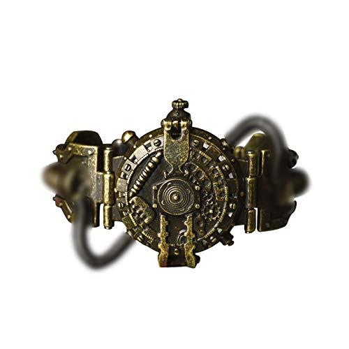 WAIY Halloween Steampunk Uhr, Retro industrielle Stil Persönlichkeit Zifferblatt Quarz wasserdichte Anti-Fall-Uhr-Gold B