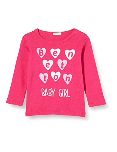 UNITED COLORS OF BENETTON T- Shirt M/l Top à Manches Longues, Rose (Pink Peacock 2l3), 86/92 (Taille Fabricant: 90) Bébé Fille