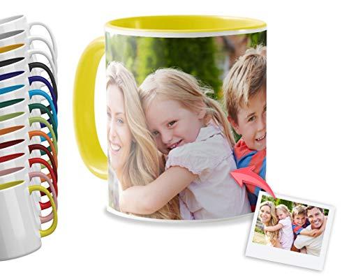 Getsingular Tazas Desayuno Personalizadas con el Interior y asa de Color | con Tus Fotos y Texto | Tazas impresión| Color: Amarillo