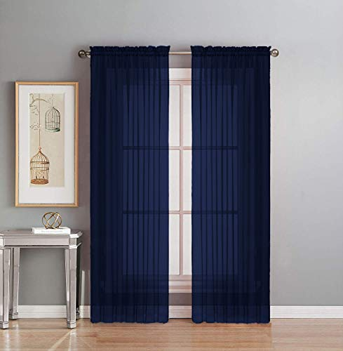 """Interior Trends 2 Piece Fully Stitched Sheer Voile Window Panel Curtain Drape Set (84"""" Long, Navy Blue)"""