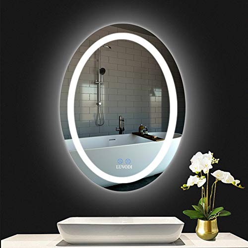 Oval Wall Mounted Led Lighted Mirror For Bathroom Lamp Wall Mounted Mirror With Touch Switch Anti-fog Hardwired(23.6 x 31.5in inch)