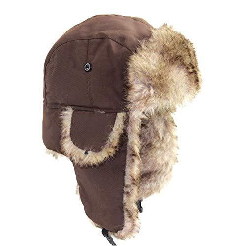 XCLWL Russen muts heren unisex winter hoed trapper Russian trooper hoed winter warm houden ski hoed mannen vrouwen namaakbont bomber hoed