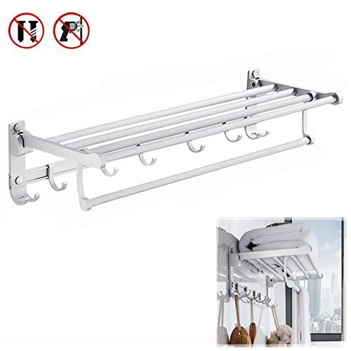 Double Towel Holder Bathroom Towel Rack Silver Space Aluminum Wall Mounted Folding Towel Bar Hanger Storage Shelf Hook Bathroom Accessories 40cm/16in