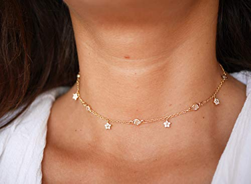 Collier choker ras du cou - collier étoiles strass - chaîne plaquée or - collier doré - collier court - Choker doré- Ras de cou diamant