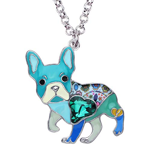 DUOWEI Metal Enamel French Bulldog Pug Dog Necklace Heart Shaped Colorful Rhinestone Pendant Cute Design for Women Girls (Blue)