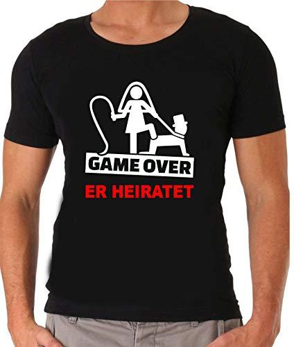 Junggesellenabschied T-Shirt | JGA Herren T-Shirt | Game Over |Sprücheshirt | Junggesellenabschied | Bräutigam | Team Bräutigam | Größe S-XXXL | Hochzeit (XXL, Schwarz (Er Heiratet))