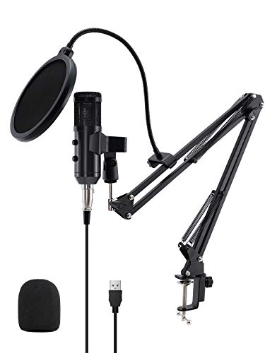 USB Condenser Microphone 192KHZ/24BIT USB Microphone Kit Podcast Microphone, USB Computer Studio Cardioid Condenser Mic Kit with Professional Sound Chipset for Recording Broadcasting YouTube Gaming