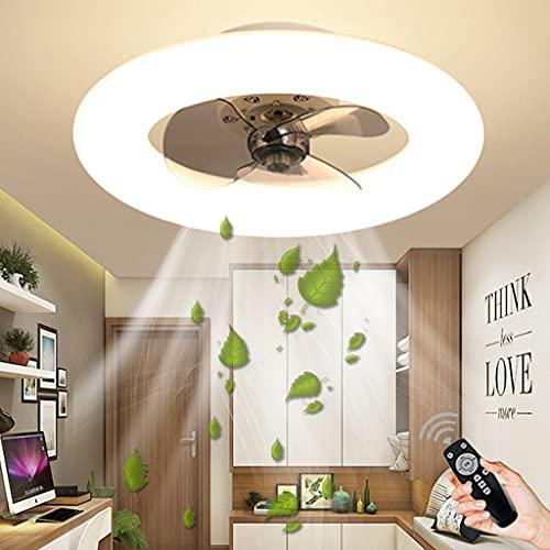 Ventilador Con Iluminación LED Ventilador De Techo Luz Regulable Con Mando Distancia Velocidad Del Viento Ajustable 48W Creativo Moderno Ultra Silencioso Habitación Sala Ventilador Lámpara (White)