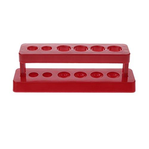 Gjyia Soporte de Tubo de Prueba 1pc Estante de plástico de 6 Orificios Soporte Rojo Soporte de bureta Estante Laboratorio
