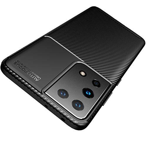 AVANA Etui do Samsung Galaxy S21 Ultra 5G etui ochronne elastyczne Slim Case czarne ochrona silikon TPU etui odporne na zarysowania etui na telefon komórkowy Bumper Cover wygląd karbonu