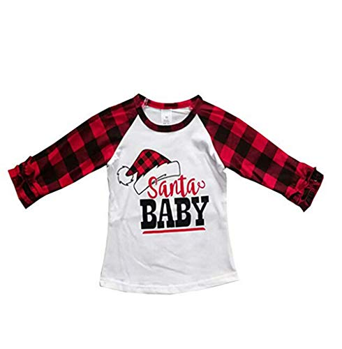 Toddler Girls Blouse Christmas Thanksgiving Long Sleeve Printed Ruffles T-Shirt Tops Clothes Outfits (6-12 M, Red 4)