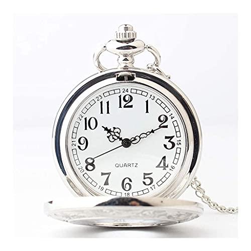 Reloj de Bolsillo con Estilo clásico.Reloj de Bolsillo para Hombre,Colgante de Cuarzo con números recortados clásicos como Regalo Retro para el día del Padre/cumpleaños/Aniversario (Color: A)