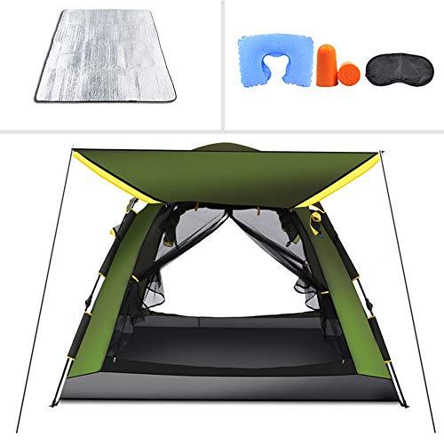 Viereckiges automatisches Doppelschicht-Zelt, wasserdicht und UV-beständig, feuchtigkeitsbeständig, geeignet für 5–6 Personen, für Camping, Wandern, Bergsteigen, grün, 225X225X170CM