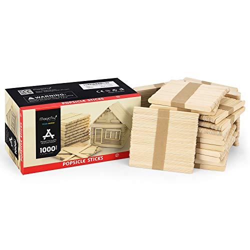 Magicfly Eisstiele aus Holz, 1000 Stück Popsicle Sticks Breit Holzstäbchen Holzspatel zum Basteln