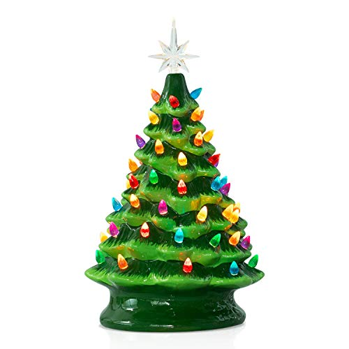 Ceramic Christmas Tree with Multicolored Lights 13.5 Inch Tabletop Halloween Holiday Decoration Lighted Vintage Ceramic Tree with Star Topper Tree, Battery Not Included, Green
