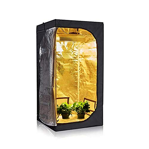HWHSZ Grow Tent, 600D Grow Box, Reflective Mylar Indoor Hydroponic Grow Tent, Greenhouse Grow Tent with Removable Waterproof Floor Tray for Indoor Plant Growing, 80 * 80 * 160CM