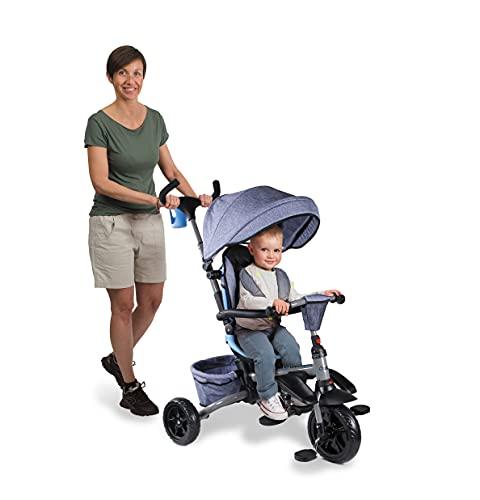 Mondo On&Go - Moovi Explore Triciclo / Passeggino per Bambini - Maniglione a Spinta, tenda parasole, cesto porta oggetti - da 12 mesi fino a 5 anni - colore Blu Jeans