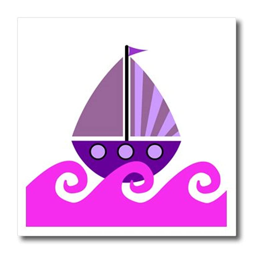 3dRose ht_15415_3 Little Girl Cute Purple Sailboat-Iron on Heat Transfer for White Material, 10 by 10-Inch