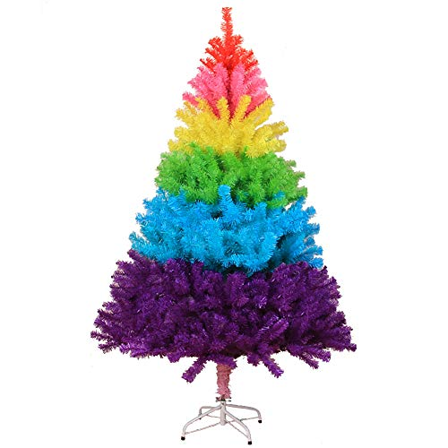 WZR 2ft Rainbow Artificial Christmas Tree,70 Branchs Xmas Tree Plastic Stand Indoor Holiday Decoration,Bottom of Tree D-35cm, Arrive in The US in 10-16 Days