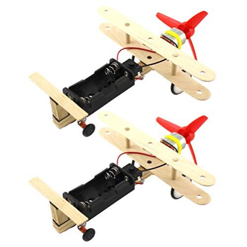 PRETYZOOM 2 Stks Houten Zweefvliegtuig Houten Vliegtuig Speelgoed Vliegende Vliegtuigen Helikopter Model Met Schakelaar