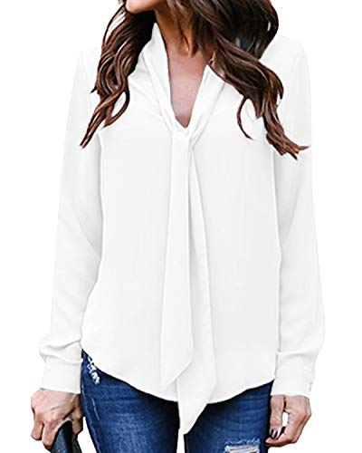 Auxo Camicia Donna Sexy Scollo V Camicetta Elegante Manica Lunga Sciolto Blusa Tinta Unita Tops Casual 01-Bianco S