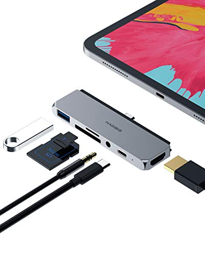 Hagibis USB C Hub Type-C Adapter with USB-C 60W PD Charging, 4K HDMI, USB 3.0,SD/Micro SD Card Reader,3.5mm Headphone Jack Compatible with iPad Pro 2020 2019 2018 Microsoft Surface Go (6in1)