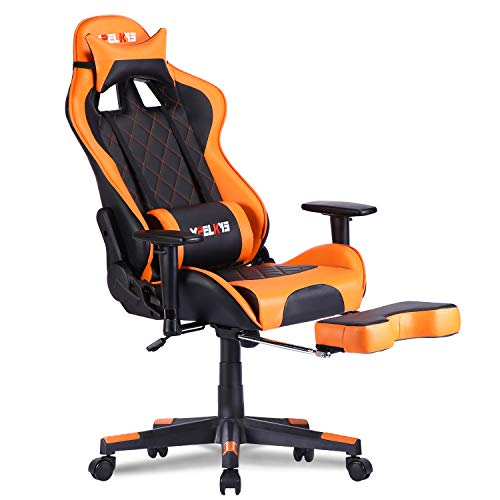 XPELKYS Gaming Stuhl, Ergonomischer Bürostuhl,Computer Stuhl Verstellbare Armlehnen&Rückenlehne, Teleskopfußstütze und Lordosenstütze 150KG (orange)