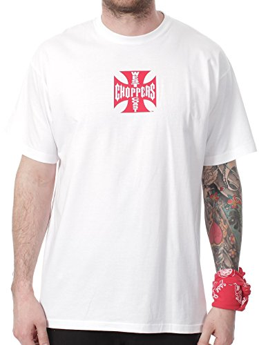WCC West Coast Choppers T-Shirt Iron Cross Red Logo White-XXL