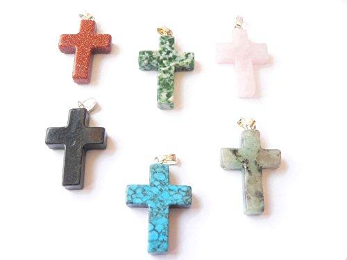 Edelstein Kreuz Passionskreuz Ketten Anhänger zur Wahl Material 3