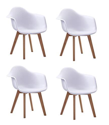 SAM 4er Set Schalenstuhl Luis, Weiß, ergonomisch geformte Sitzschale aus Kunststoff, bequemer Esszimmerstuhl im Retro-Design, Holzgestell aus Buche Natur