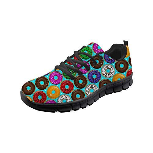 HUGS IDEA Damenmode Athletisch Turnschuhe Buntes Donut-Muster Leichte Komfort Fitness Laufen Racing Walking Trainer Schuhe-Größe: EU 38