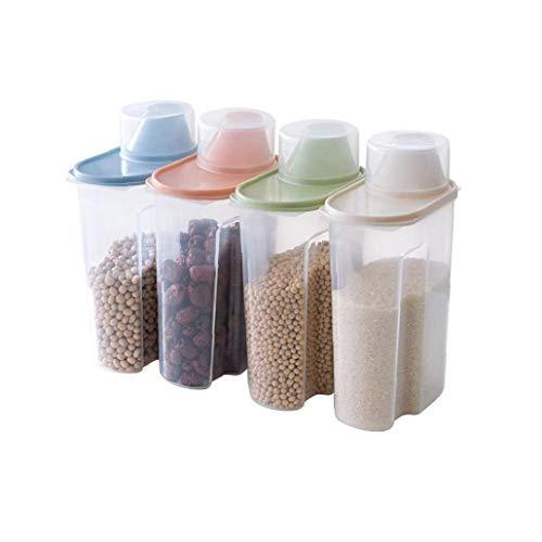 Ruijanjy 4 Piezas De Gran Capacidad Hermético Seco Contenedor De Alimentos De Cereales Durable Almacenamiento Caja De Almacenamiento Transparente De Cocina Tanque De 1,9 litros