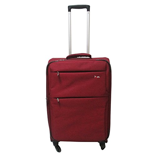 JAM Voyager Suitcase 24' Marled Red Luggage Travel Trolley Case with 4 Spinner Wheels Lightweight Tough Fabric Fully Lined Interior Ideal for Holidays City Breaks Weekend