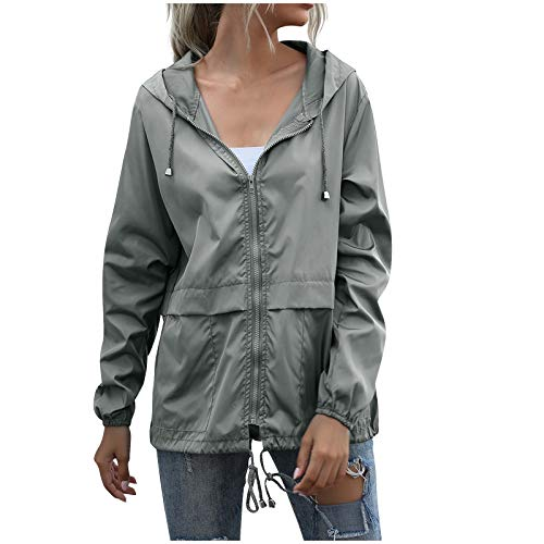 TOPSELD Women Rain Jacket Waterproof with Hood Lightweight Active Outdoor Windbreaker Raincoats(Gray,S)
