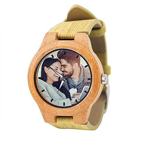 Reloj Personalizado para El Día del Padre Regalos De Madera Grabados con Nombres Pareja Relojes De Madera Aniversario Cumpleaños Navidad Regalos con Fotos para Hombres Y Mujeres (Hombres 45 Mm)