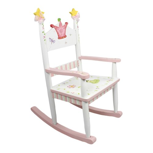 Teamson Design Corp Fantasy Fields - Princess & Frog Thematic Kids Wooden Rocking Chair Imagination Inspiring Hand Crafted & Hand Painted Details Non-Toxic, Lead Free Water-based Paint